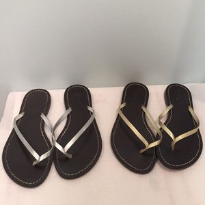 2 pairs - J.Crew Gold & Silver Leather Flipflops 7
